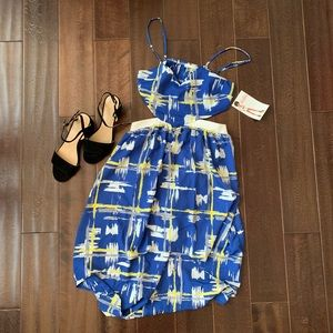 New Fun Print Lush Cut-out Hi-low Dress